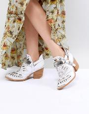 leather white western laser cut ankle boots
