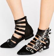 psych multi buckle flat ankle boots