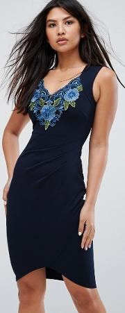 Wrap Front Dress With Embroidery Detail