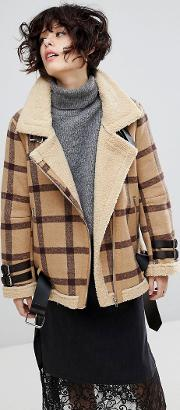 J.o.a Aviator Jacket In Vintage Check With Faux Shearling Lining