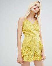 J.o.a Cami Strap Playsuit In Delicate Lace With Ruffle Detail