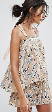 j.o.a cami top in pleated floral print co ord
