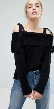 J.o.a Cold Shoulder Jumper With Tie Shoulders In Cable Knit
