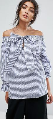 j.o.a off shoulder top in shirt stripe with tie bow front