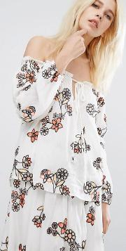j.o.a off shoulder top with floral embroidery co ord