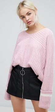 J.o.a Relaxed Varsity Jumper With Xl Sports Stripe Cuffs
