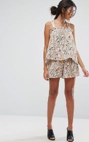j.o.a shorts in pleated floral print co ord
