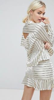 J.o.a Wrap Front Tailored Shirt In Satin Formal Stripe Co Ord