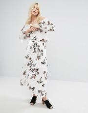 Off Wrap Front Midi Skirt With Floral Embroidery Co Ord