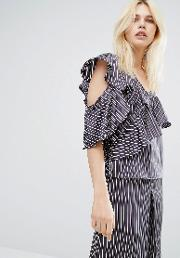 Pinstripe One Shoulder Ruffle Top Co Ord