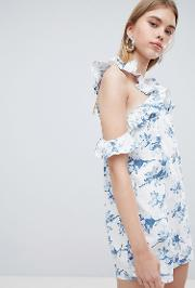 shift dress with cross cold shoulder ruffle detail in light floral