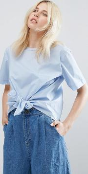 Short Sleeve Blouse With Tie Front Detail