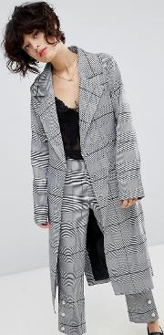wrap mac jacket in suit check co ord
