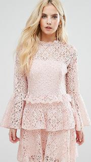 Allover Cutwork Lace Mini Dress With Fluted Sleeve Detail