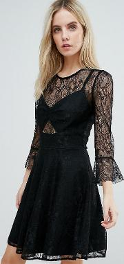 Lace Top Prom Skater Dress With Bra  Detail