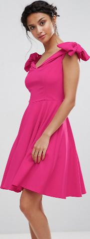 Off Shoulder Mini Dress With Bow Sleeve Detail