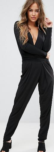 Slinky Wrap Front Jumpsuit With Plunge Back Detail