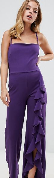 Wide Leg Jumpsuit With Exaggerated Ruffle Detail
