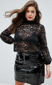 Cutwork Lace Top With Blouson Sleeve