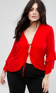 Tie Front Blouse With Ruffle Sleeve
