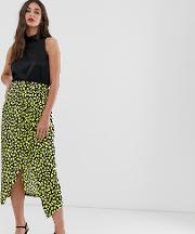 Frill Midaxi Skirt With Thigh Split