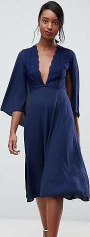 Lace Top Midi Skater Dress With Cape Detail