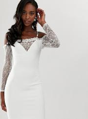 Square Neck Bodycon Dress With Lace Sleeve