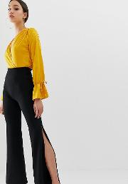 Wide Leg Trouser With Side Splits