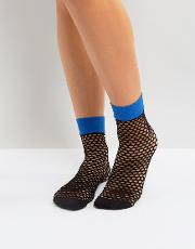 flash coloured top fishnet ankle socks in electric blue
