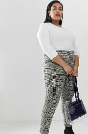 High Waist Check Tapered Trousers