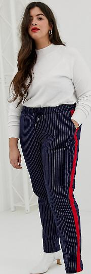 Pinstripe Trousers With Side