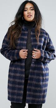 Plus Coat In Check With Belt
