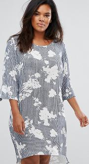 Sleeve Floral And Stripe Mix Jersey Dress