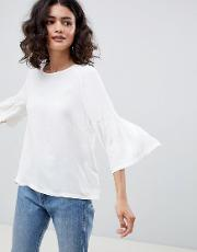 Garner Fluted Sleeve Blouse