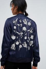 panther embroidered back bomber