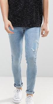 Super Skinny Jeans Light Wash With Abrasions