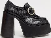 Platform Snake Effect Heeled Loafers With Buckle Detail