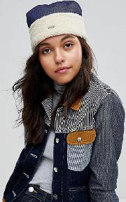 cossack hat in denim and faux shearling