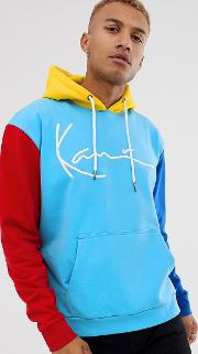 Signature Block Hoodie With Embroidered Logo And Contrast Sleeves
