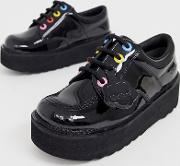 Kick Lo Stack Leather Patent Flat Shoes With Multi Colour Eyelets