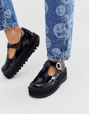 Kick Trixie Patent Leather Flat Shoes With Buckle