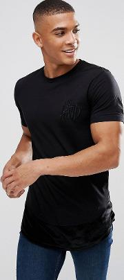 muscle t shirt in black with velour panel