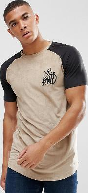 muscle t shirt in stone suedette