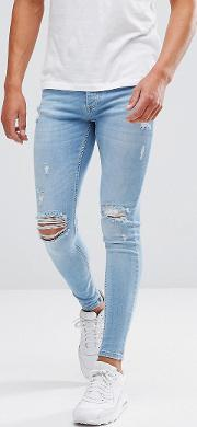 Super Skinny Jeans  Lightwash Blue With Distressing