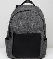 Backpack With Faux Leather Trims