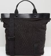 Canvas Tote Bag With Leather Trims