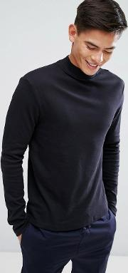 High Neck Long Sleeve T Shirt In Black