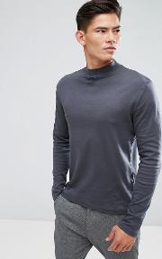 high neck long sleeve t shirt in grey
