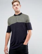 knitted polo shirt with colour block