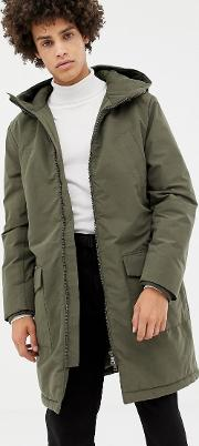 long padded parka in green